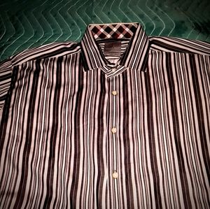 THOMAS DEAN L maroon&white pinstripe dress shirt